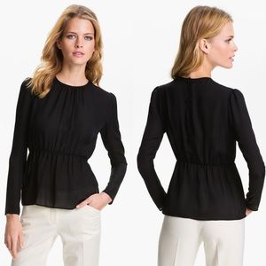 theory // silk peplum top